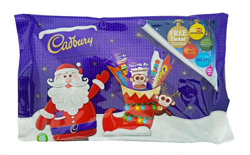 Cadbury Santa Selection Pack, 4 treatsize chocolate bars + 1 packet, 89g