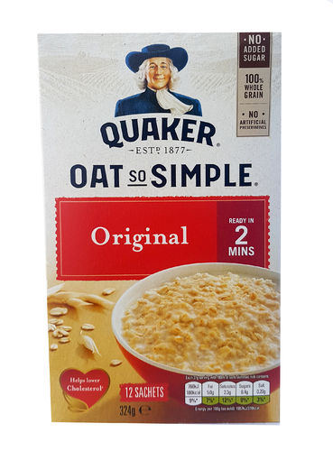 Quaker Oat So Simple Original Porridge, Haferflocken, 12 x 27g