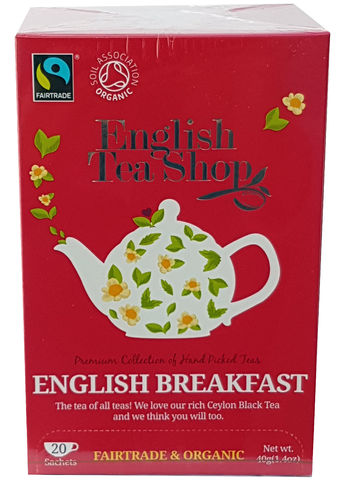 English Tea Shop Organic and Fair Trade English Breakfast 20 Teabags