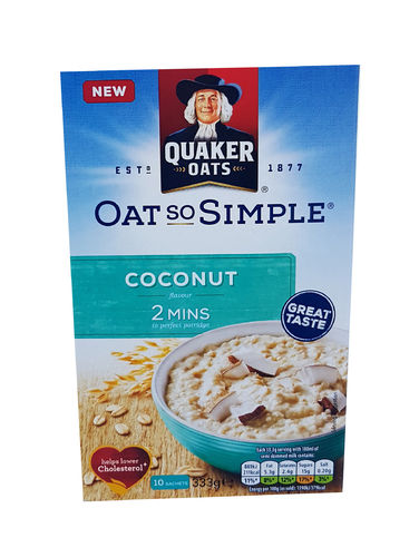 Quaker Oat So Simple Coconut Flavour Porridge, Haferflocken Kokosgeschmack, 10x33.3g
