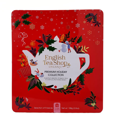 English Tea Shop Organic Premium Holiday Collection Red Gift Tin 72 Pack